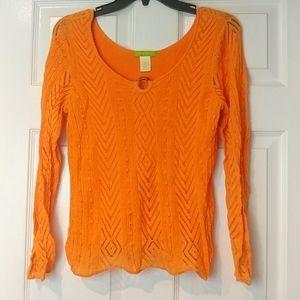 SIGRID OLSEN Size M Orange Knit Blouse